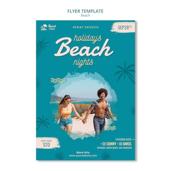 Modèle de flyer de vacances à la plage