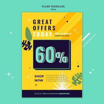 Modèle de flyer de vente avec des couleurs vives