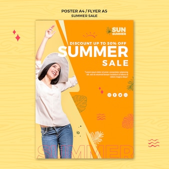 Modèle de flyer de vente d'été modèle fille