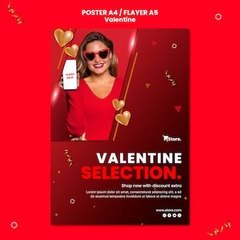 Modèle de flyer de vente saint valentin