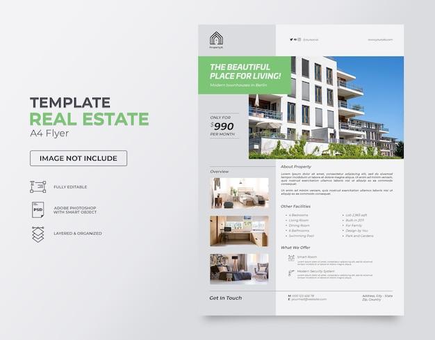 Modèle de flyer vertical immobilier plat gratuit