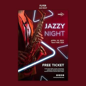 Modèle de flyer vertical pour l'événement de nuit de jazz au néon