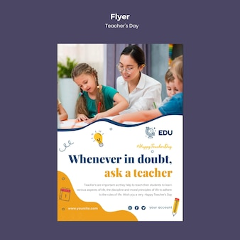 Modèle de flyer vertical pour la journée des enseignants