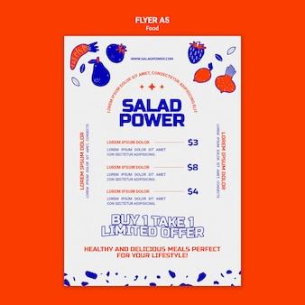 Modèle de flyer vertical pour la puissance de la salade