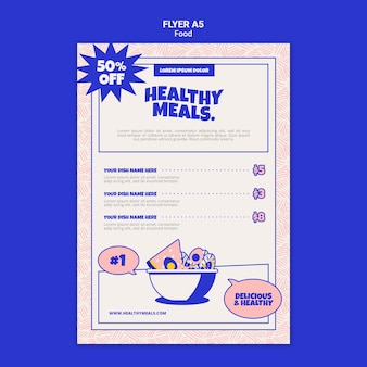 Modèle de flyer vertical pour des repas sains