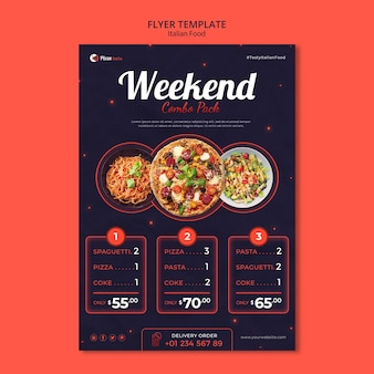 Modèle de flyer vertical pour restaurant de cuisine italienne