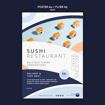 Modèle de flyer vertical pour restaurant de sushi