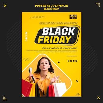 Modèle de flyer vertical pour la vente du vendredi noir