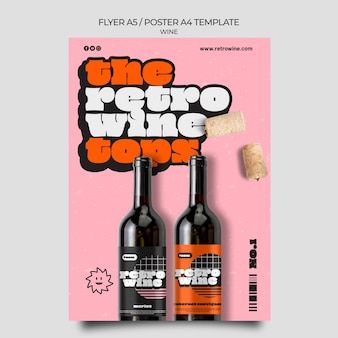 Modèle de flyer de vin de style rétro
