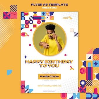 Modèle de flyer de voeux d'anniversaire