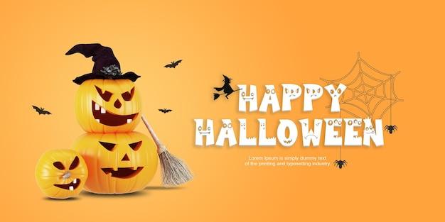 Modèle de fond joyeux halloween avec des citrouilles drôles