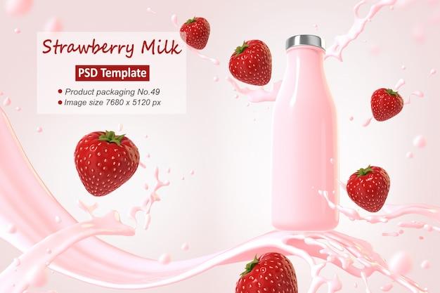 Modèle de fond de lait aux fraises rendu 3d
