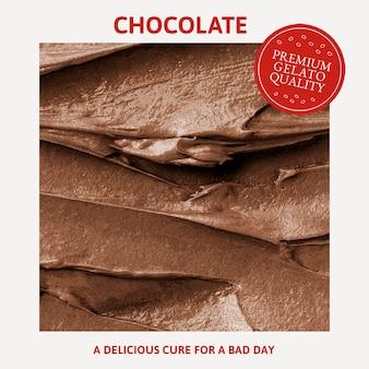 Modèle de gelato psd avec texture de glaçage au chocolat pour les médias sociaux