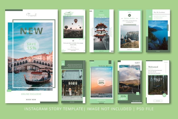 Modèle graphique de voyageurs instagram stories