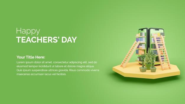 Modèle happy teachers day avec smartphone et podium