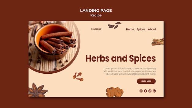 Modèle d'herbes et d'épices de page de destination