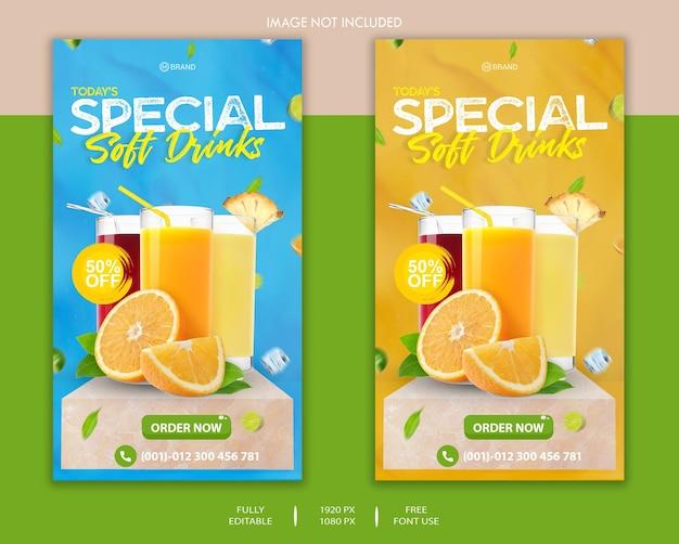 Modèle d'histoire facebook et instagram de boissons non alcoolisées spéciales