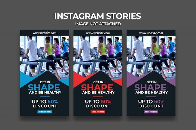 Modèle d'histoire de fitness premium instagram pour la gym