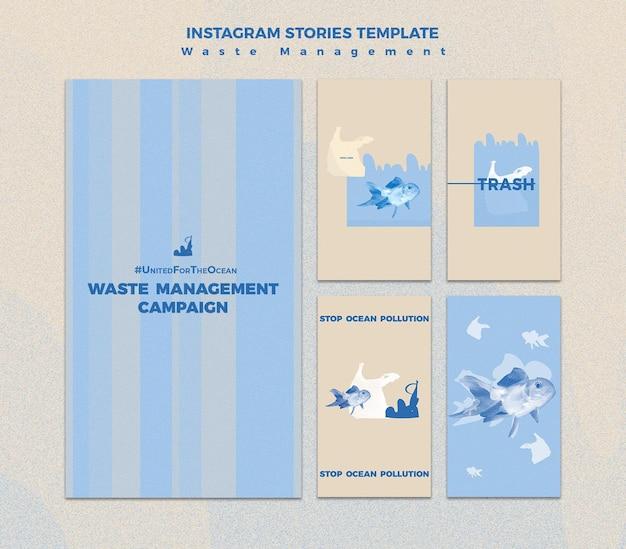 Modèle d'histoire insta de gestion des déchets