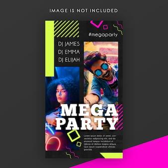 Modèle d'histoire instagram electro night party