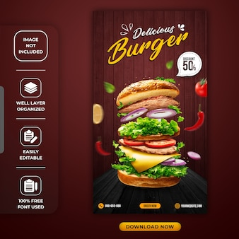 Modèle d'histoire instagram spécial pour un hamburger ou un restaurant