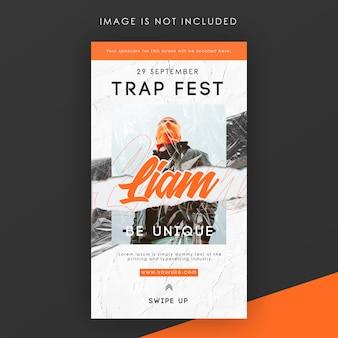 Modèle d'histoire instagram de trap festival