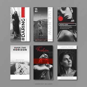 Modèle d'histoire instragram gris et rouge