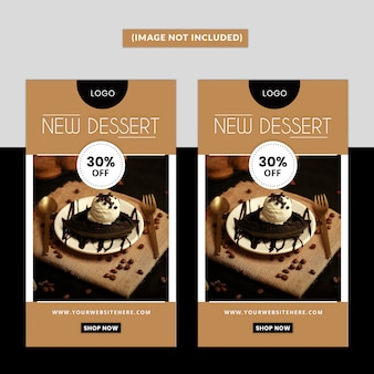 Modèle d'histoire de médias sociaux de dessert