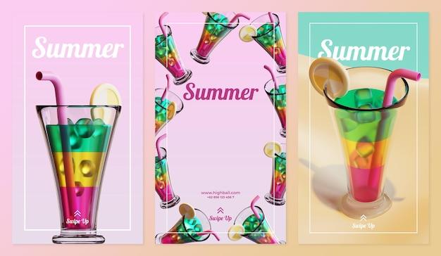 Modèle d'histoire de médias sociaux d'été avec rendu 3d de cocktail highball
