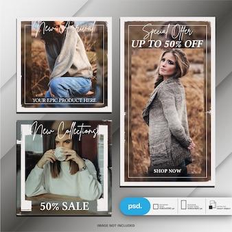 Modèle d'histoire de mode instagram et poteau carré ou bannière
