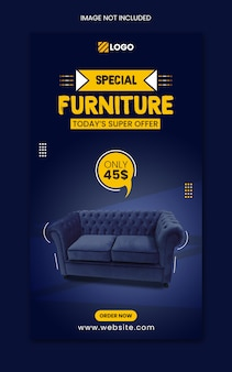 Modèle d'histoire de post instagram de vente de meubles