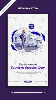Modèle d'histoire de publication de la journée spéciale du tourisme sur instagram et facebook