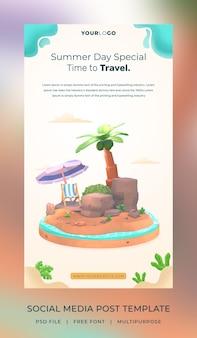 Modèle d'histoire de publication de médias sociaux d'été de rendu 3d avec illustration de cocotier