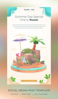 Modèle d'histoire de publication de médias sociaux hello summer de rendu 3d avec illustration de cocotier et de parapluie