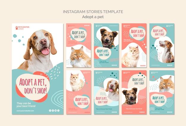 Modèle d'histoires d'adoption pour animaux de compagnie