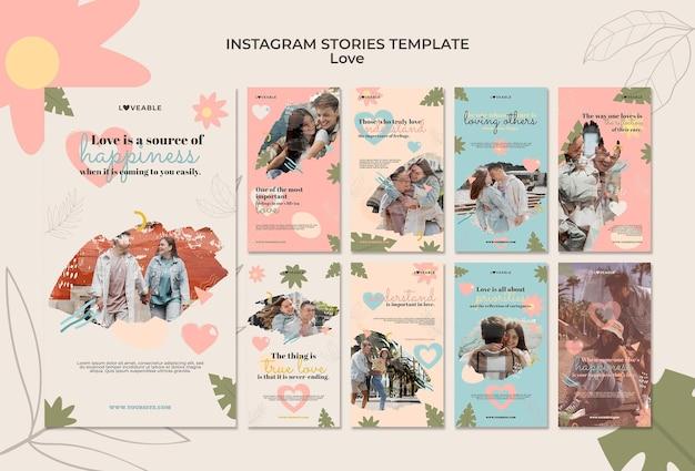 Modèle d'histoires d'amour instagram avec photo