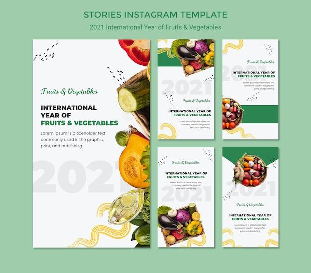 Modèle d'histoires de l'année internationale des fruits et légumes