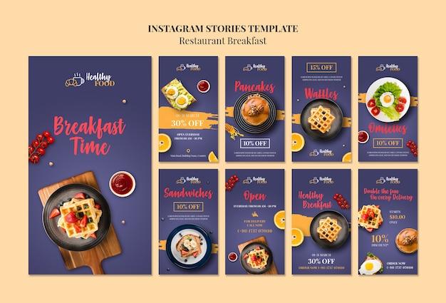 Modèle d'histoires au restaurant instagram