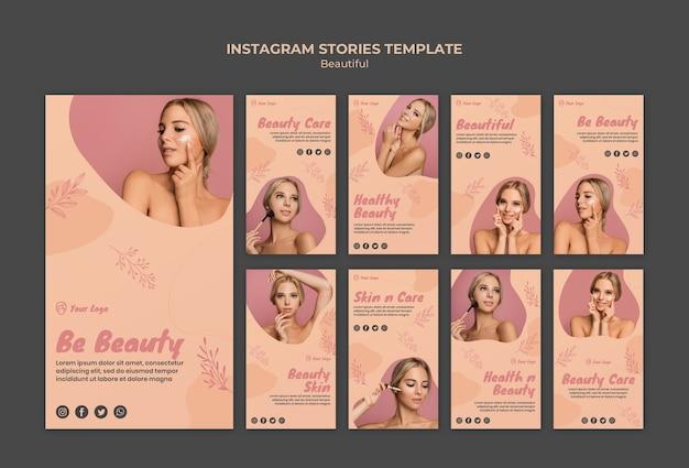 Modèle d'histoires de beauté instagram