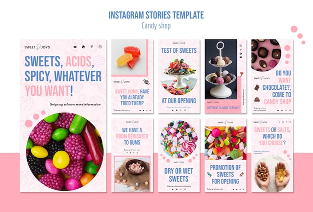 Modèle D'histoires De Bonbons Instagram Psd gratuit