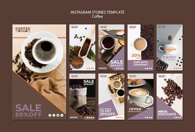 Modèle d'histoires de café instagram
