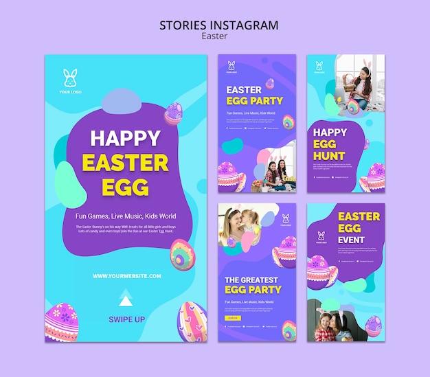 Modèle d'histoires colorées d'oeuf de pâques