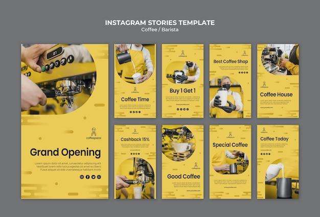 Modèle d'histoires de concept de café