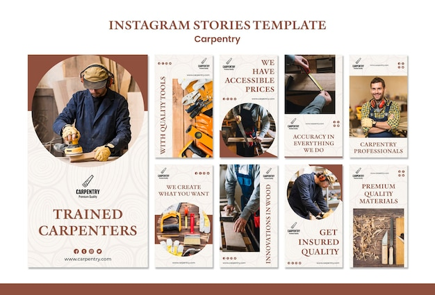 Modèle d'histoires de concept de menuiserie instagram