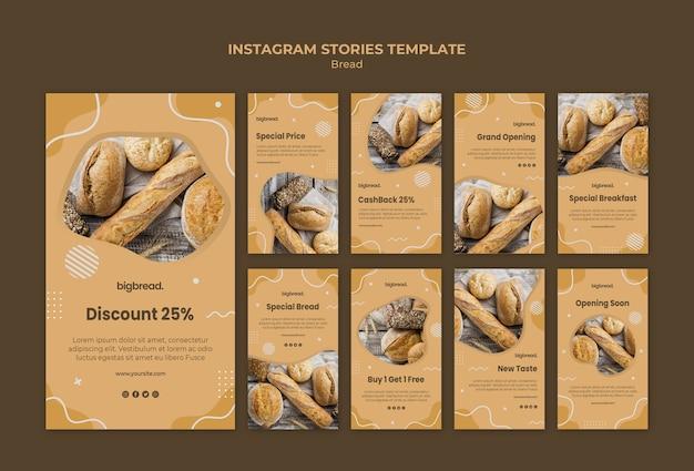 Modèle d'histoires de concept de pain instagram
