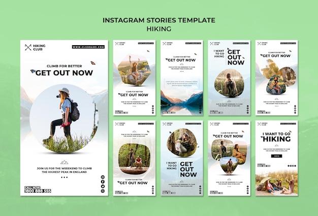 Modèle d'histoires de concept de randonnée instagram