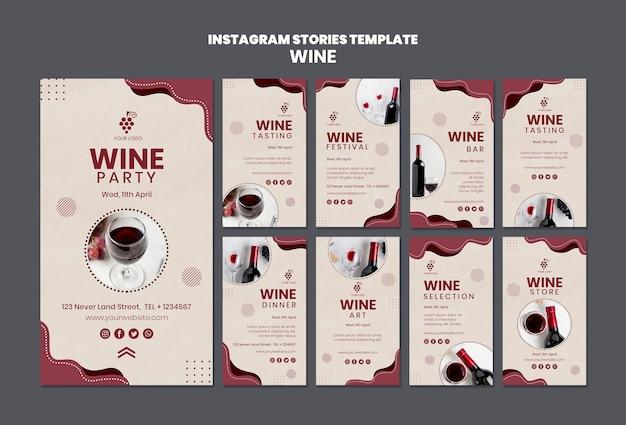 Modèle d'histoires de concept de vin