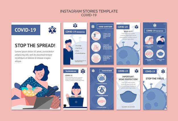 Modèle d'histoires de coronavirus instagram