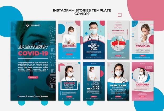 Modèle d'histoires covid19 instagram