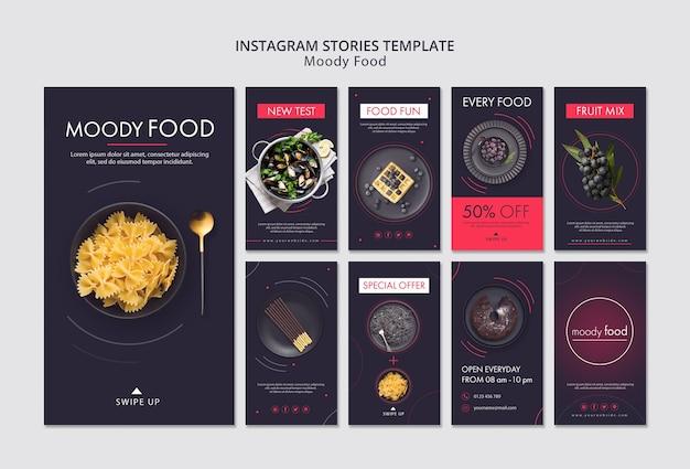 Modèle d'histoires créatives instagram de moody food